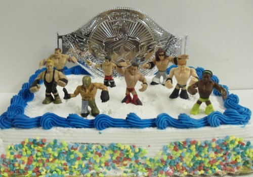 WWE Wrestler Rumblers Wrestling Birthday Cake Topper Set Featuring 8 RANDOM WWE Rumbler Figures and Unique Wrestling Championship Belt Cake Decorative Piece