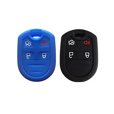 Black and Navy Blue Silicone Key Fob Case Cover Skin Key Jacket Keyless Smart Jacket Cover Protector for Ford Expedition F150 F250-350 LINCOLN Navigator: Automotive