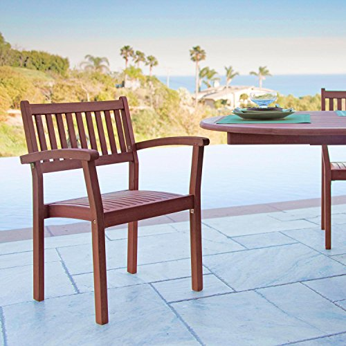 VIFAH V1080 Set of 4 Stacking Dining Chairs, Natural Wood Finish, 22.7 by 22 by 32.9-Inch
