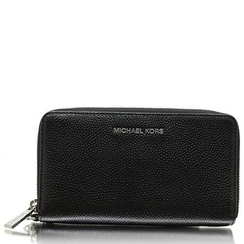 (Michael Kors Mercer Large Leather Smartphone Wristlet in Black)