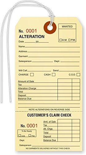 Alteration Tag, Manila Cardstock (3.125'' x 6.25'') w Tear-Off Receipt, Black Ink w Sequential Red Numbers, Reinforced Hole w String Attached - Box of 500 Tags