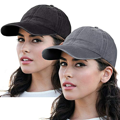 Polo Caps Baseball Hat - Unisex Women Polo Style Baseball Cap Distressed Sun Hats 100% Cotton Classic Trucker Hat 2Pack-Black&Grey