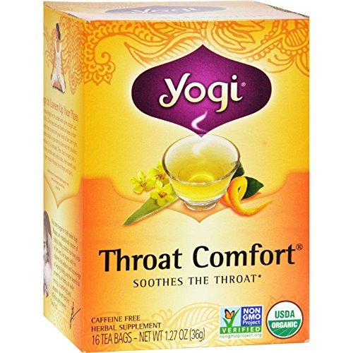 Yogi Tea Organic - Throat Comfort - Caffeine Free - 16 Tea Bags - 95%+ Organic -