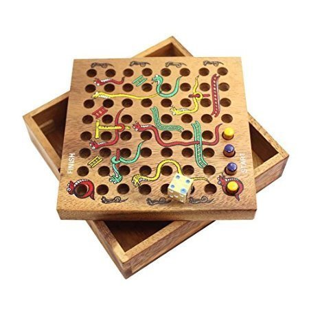 Kimougha Snakes & Ladders (Large) Wooden Strategy Board Game ()