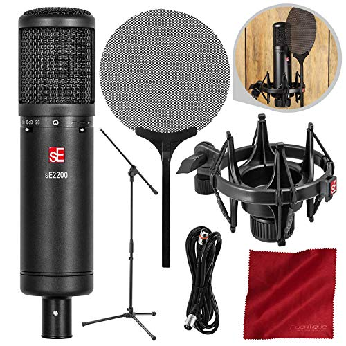 sE Electronics sE2200 Studio Condenser Cardioid Microphone with Deluxe Accessory Bundle
