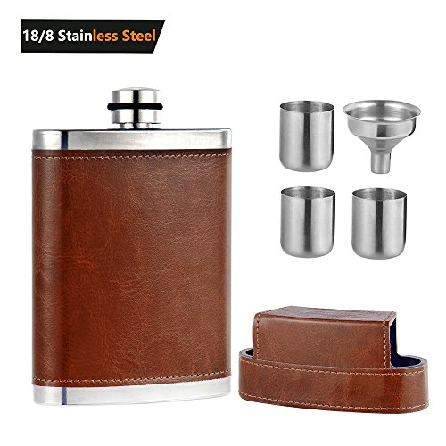 Mohary Pocket Hip Flask 8 Oz with Funnel - Stainless Steel with Leather Wrapped Cover & 100% Leak Proof by Mohary