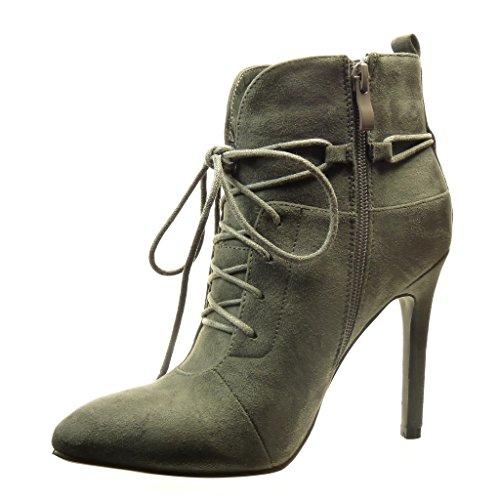 Angkorly - damen Schuhe Stiefeletten - Low boots - Sexy - Schleife - Spitze Stiletto high heel 11 CM Grau