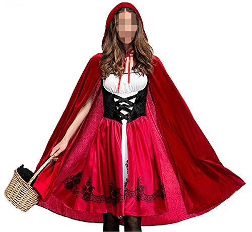 Ladies Halloween Hat Costumes Red (Betusline Women's Halloween Cosplay Costume Little Red Hat Performance)