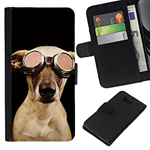 Pilot Dog Goober Cute Art Photo - la tarjeta de Crédito Slots PU Funda de cuero Monedero caso cubierta de piel Samsung ALPHA G850