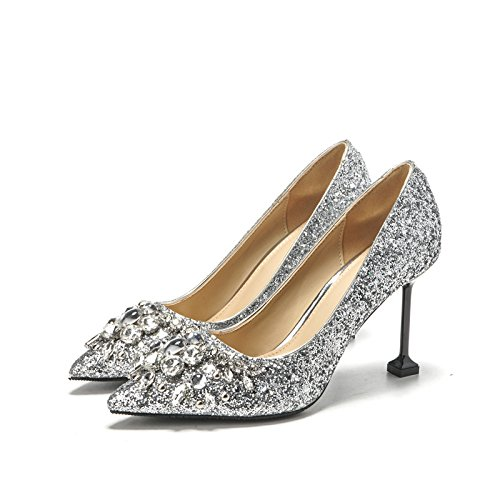 High 8 ZHANGJIA único Alto Silver Brillante Plateada Silver 8 Broca Mujer Talón Zapato Thirty high Centimeters de Resorte con Four centimeters qx6r7qf