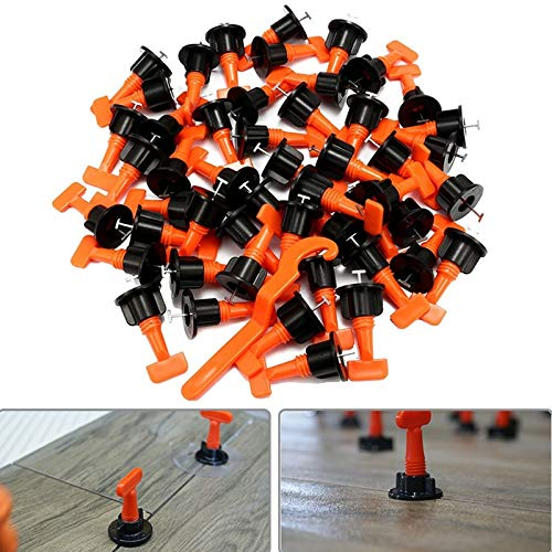 Generic HLZS-50Pcs Tile Leveling System Kit 1.6mm Space Reuse Wall Floor Clip Leveler Ceramic 3-15mm Thickness Construction Tools For Color Orange