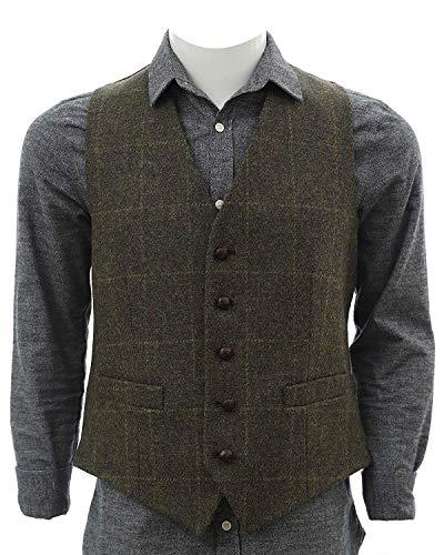 Biddy Murphy Irish Tweed Vest Traditional Green Plaid Pattern Full Back 100% Irish Wool from Tipperary Made in Ireland XL
