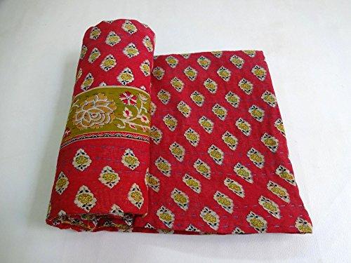 Vintage Kantha Quilt Handmade Indian Cotton Bedspread Sashiko Bedding Throw