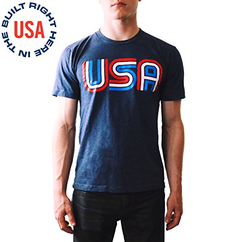 Epivive USA Retro Patriotic American Flag Olympic Shirt Blue, Large - Men & Women
