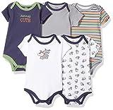 Luvable Friends Unisex Baby Cotton Bodysuits, Tough Guy Short Sleeve 5 Pack, 3-6 Months (6M)