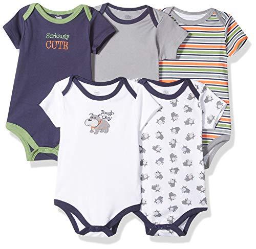 Luvable Friends Unisex Baby Cotton Bodysuits, Tough Guy Short Sleeve 5 Pack, 6-9 Months (9M)