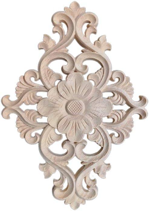 SUPVOX Wood Carved Onlay Applique Unpainted Door Cabinet Furniture Decorations Size 2