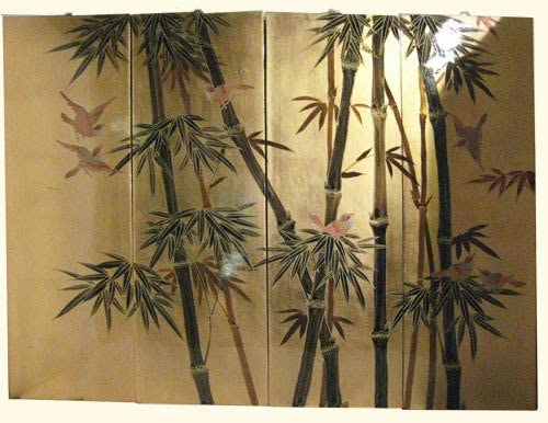 """2 Vintage Asian Hand Painted Bamboo Wall Hangings 36/"""" x 12/"""" Wide"""
