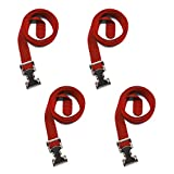 Utility Lashing Strap, 4-Pack, 1'' x 48'', Made in USA, Hook & Cord (Red)