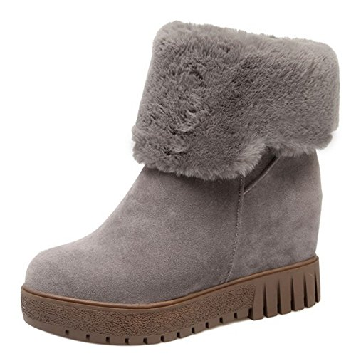Women Pull KemeKiss Boots On Hidden Heel Gray qEEPd7w