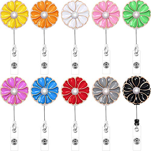 Boao Retractable Badge Holder with Alligator Clip, Badge Clips ID Badge Reel Clip on Card Holders, 10 Pieces (Flower and Pearl)