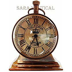 Vintage Desk Clock Brass Antique Marine Nautical Desk Decor