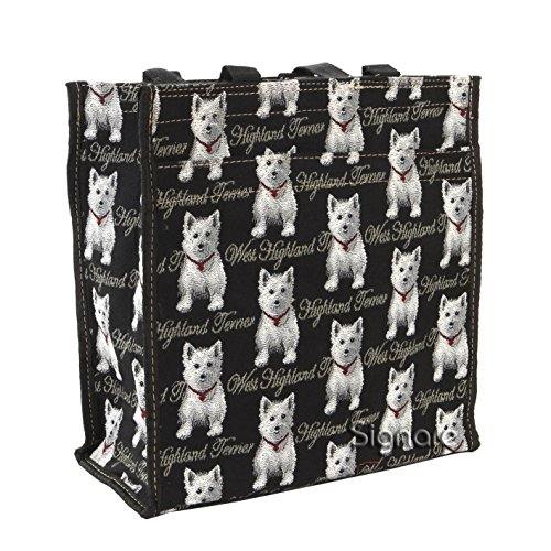 Signare Black and White Womens Fashion Tapestry Shopper Bag Shoulder Bag in Westie Design
