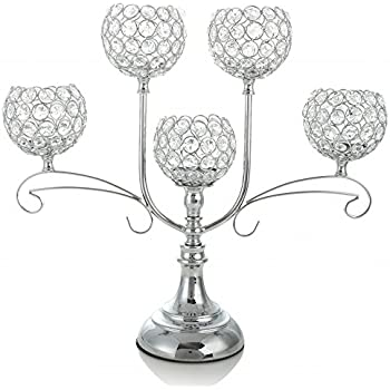 High Quality VINCIGANT Tall Crystal Floor Candelabra For Wedding Flower Centerpieces  Dining Room Table Decoration ,Silver