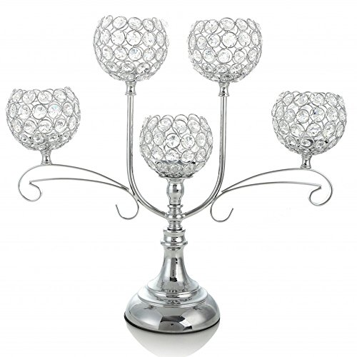 VINCIGANT Silver Crystal Candelabra for Wedding Coffee Table Decorative Centerpiece/Dining Room Tabletop Accessories,House Decor Gift for Dad