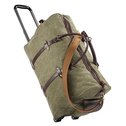 Luggage Rolling Duffel Bag, Gonex Canvas Wheeled Travel Bag 50L Army Green (Bag 22 Wheeled)