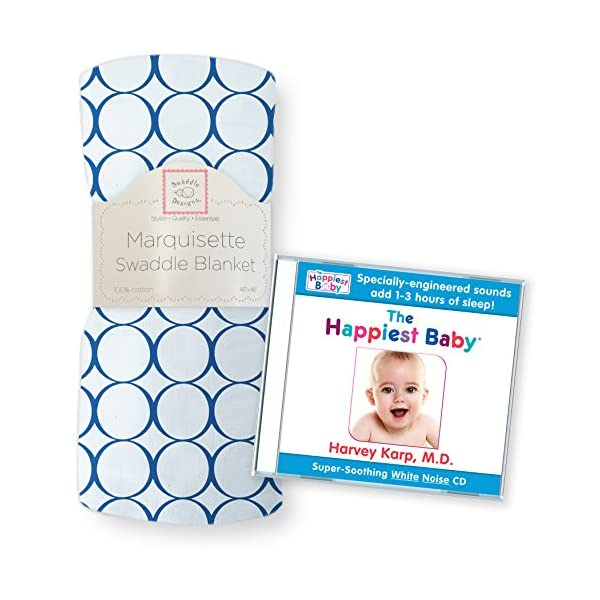 SwaddleDesigns Marquisette Swaddling Blanket with The Happiest Baby CD Bundle, Jewel Tone Mod Circles, True Blue