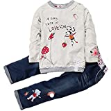 Thrivqyaf Little Girls Cute Long Sleeve Cartoon Shirt and Jeans Pants Outfit Set (4T, Style 1)