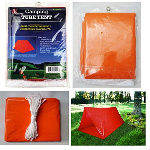2 Persons Tube Tent Emergency Survival Hiking Camping Shelter Outdoor Portable by Unknown