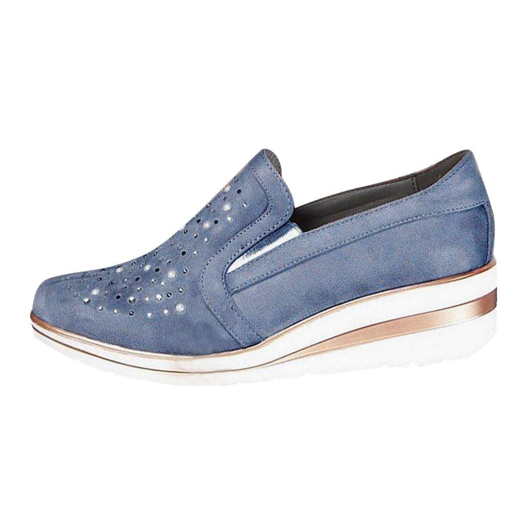 ❤Kauneus❤ Womens Rhinestone Wedges Platform Shoes Ladies Breathable Comfy Daily Walking Shoes Plus Size Casual Shoes Blue by Kauneus Fashion Shoes