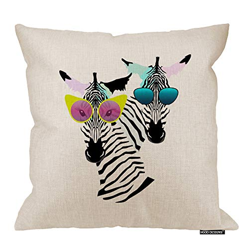 HGOD DESIGNS Zebra Throw Pillow,Two Funny Striped Zebra with Fashion Sunglasses Decorative Cushion Cover Cotton Linen Square Throw Pillow Cover,20