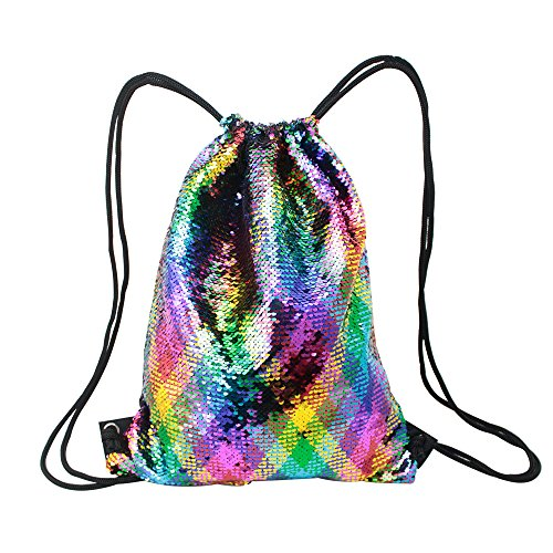 Mermaid Drawstring Bag Magic Reversible Sequin Backpack Glittering Dance School Bag for Yoga Outdoors Sports, for Girls Women Kids (Reversible Drawstring Bag)