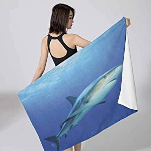 Betsy Barnard Large Bath Towel Shark,Fish in The Exotic Ocean Dreamy Water with Surreal Color Underwater World Image Violet Blue Grey Custom Camp Towels 27x55 inch