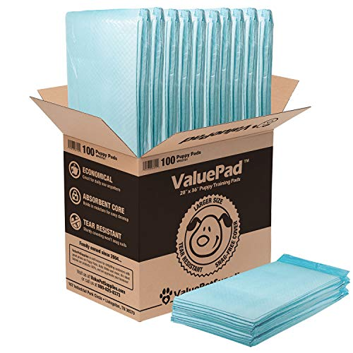 ValuePad Puppy Pads, Extra Large 28x36 Inch, 100 Count- Economy Training Pads for Dogs, Leak Resistant 5-Layer Design, Perfect for Large Breed Puppies, Dogs & Even Litter Boxes
