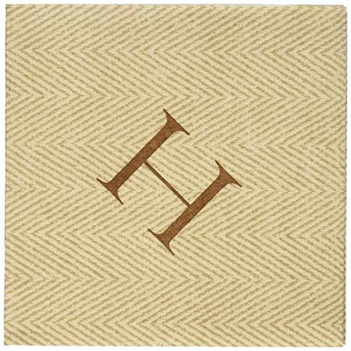 Entertaining with Caspari Jute Herringbone Paper Linen Cocktail Napkins, Monogram Initial H, Pack of ()