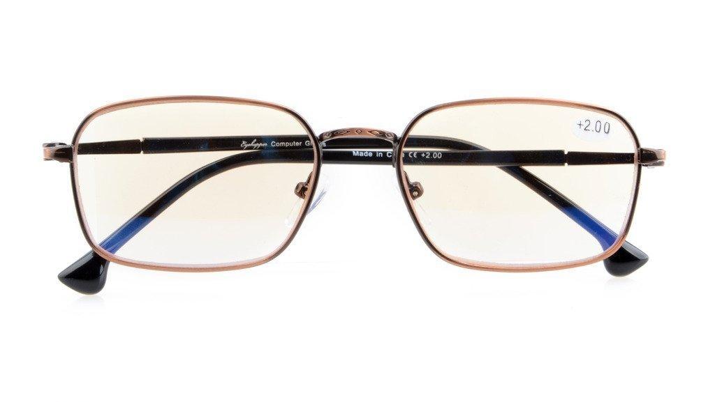 UV Protection,Anti Blue Rays,Reduce Eyestrain,Spring Hinges,Computer Reading Glasses(Bronze,Amber Tinted Lenses) +0.75