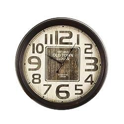 Adeco CK0069 CK0069 Adeco Iron Circle Wall Clock, Brown Rim White, Brown