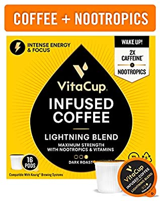 VitaCup Lightning Blend Nootropic Vitamin Infused Coffee Pods Intense Energy Focus | 2X Caffeine | Vegan | Vitamin B1, B5, B6, B9, B12, D3 | Compatible K-Cup Brewers Including Keurig from VitaCup