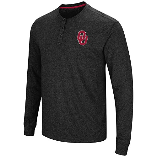 Embroidered Long Sleeve Oklahoma (Colosseum Men's NCAA-Solo Long Sleeve Henley T-Shirt-Oklahoma Sooners-Heathered Black-XXL)