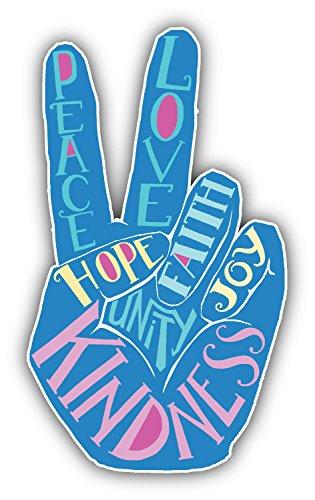 SkudruLacis Peace Sign Love Slogan Art Decor Bumper Sticker 3'' x 5''