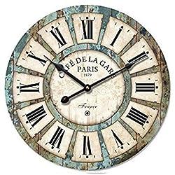 12 Vintage Roman Numeral Design Wood Clock - Eruner France Paris *Café De La Gare* Colourful French Country Tuscan Style Wooden Wall Clock (#03, Normal)