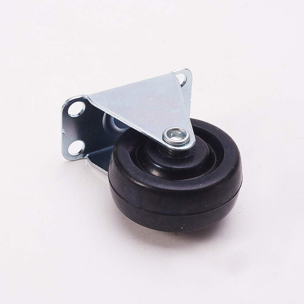 MroMax Swivel Casters 40mm Dia no Brake Fixed Wheel Top Plate Connector for Office Chair Furniture Industrial Equipments Machines Black 2Pcs