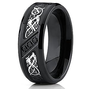 Black Titanium Wedding Ring Band with Dragon Design Over Carbon Fiber Inlay and Black Cubic Zirconia