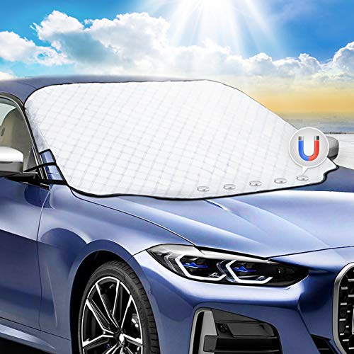Favoto Auto Windscherm Sneeuwijsafdekking en Zonnescherm, 147 x 116 cm Universele Pasvorm, Waterdichte Stofmistvorst…