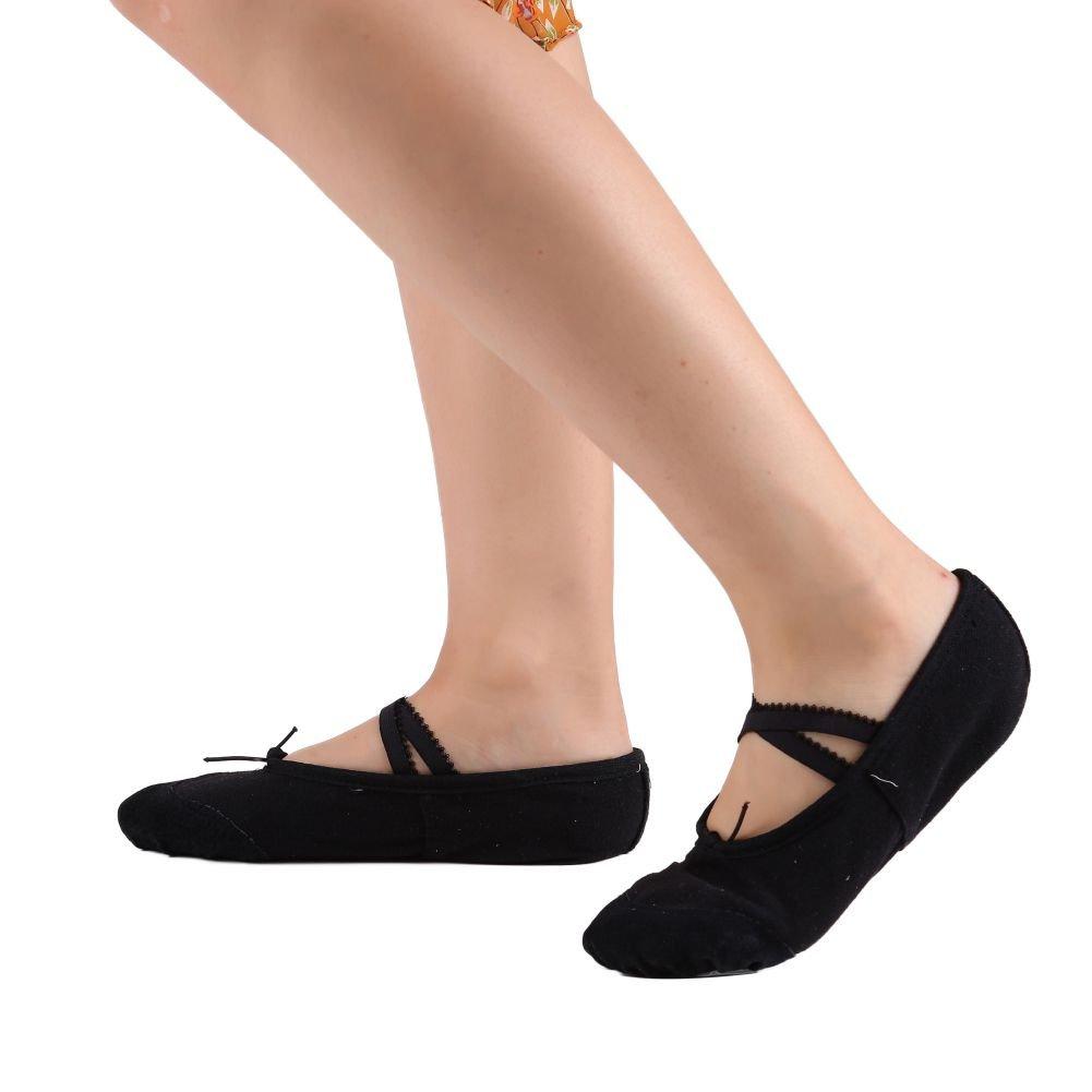 Leezo Zapatos de Baile de Yoga Portátiles para Niñas de Lona de Cuero Pumps Flats Classic Ballet Zapatos