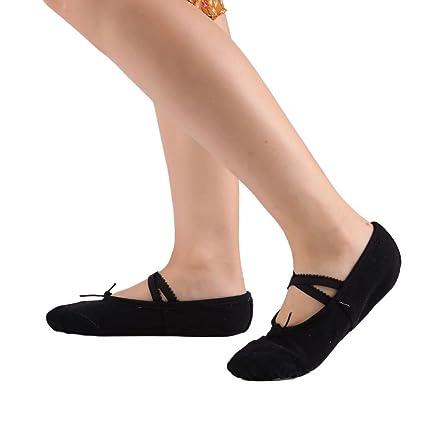 Leezo - Zapatillas clásicas de ballet planas, para practicar baile y yoga, de tela y de cuero, para niñas